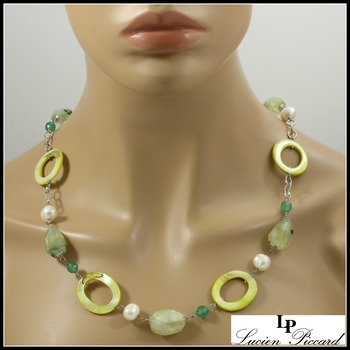 Designer Lucien Piccard Genuine Green Quartz, Mother of Pearl & Water Fresh Pearl Solid .925 Sterling Silver Necklace