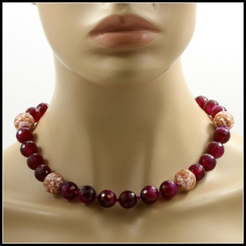 Designer Lucien Piccard Genuine Purple Agate with Sterling Silver Clasp Necklace