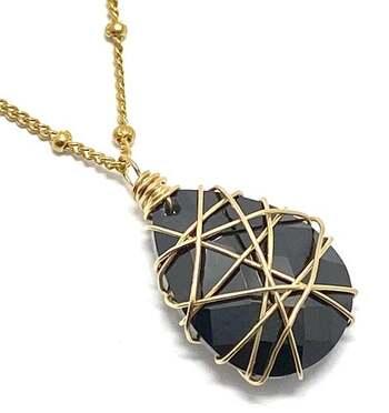 Designer Nina Nguyen 14k 1/20 Gold Filled 20.75ct Genuine Briolette Cut Black Spinel Necklace