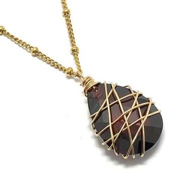 Designer Nina Nguyen 14k 1/20 Gold Filled 21.50ct Genuine Briolette Cut Garnet Necklace
