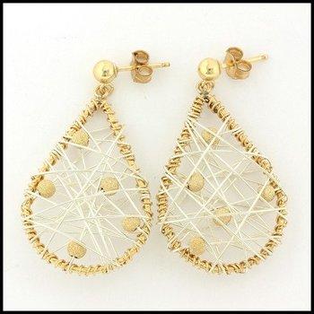 """Designer Nina Nguyen 14k Gold & Sterling Silver """"Andrea's Dream"""" Post Earrings"""