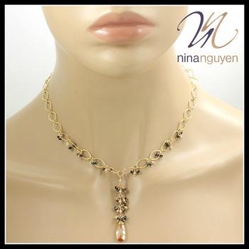Designer Nina Nguyen Necklace with Citrine, Smokey Quartz & Champagne Crystals 14k Gold Filled
