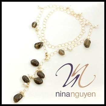"Designer Nina Nguyen Smokey Quartz & Pearl 14k Gold Filled  36"" Necklace"