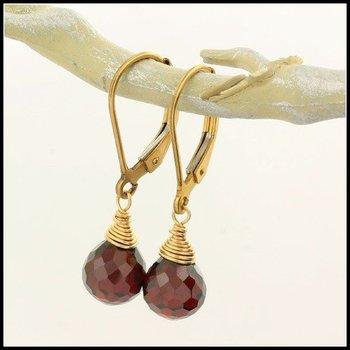 Designer Nina Nguyen Teardrop Leverback Earrings in Garnet & Yellow 14k Gold Filled