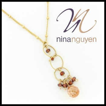 Designer Nina Nguyen Tie the Knot Lariat Necklace with Champagne Crystals 14k Gold Filled