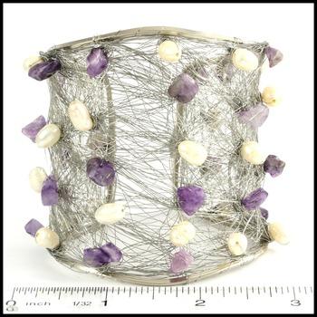 Designer Nina Nguyen Wire Cuff Bangle Genuine Amethyst Bracelet