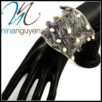 Designer Nina Nguyen Wire Cuff Bangle Genuine Amethyst Bracelet