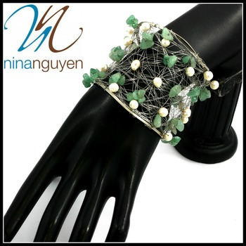 Designer Nina Nguyen Wire Cuff Bangle Genuine Emerald Bracelet