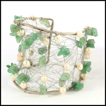 Designer Nina Nguyen Wire Cuff Bangle Genuine Emerald Bracelet