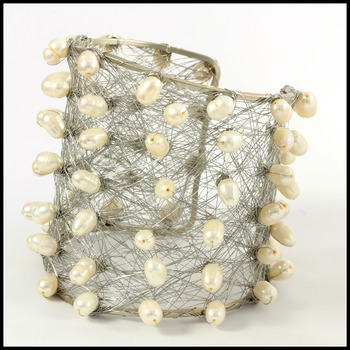 Designer Nina Nguyen Wire Cuff Bangle Water Fresh Pearls Bracelet