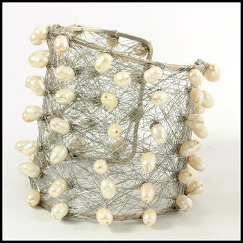 Designer Nina Nguyen Wire Cuff Bangle Water Fresh Pearls Bracelet