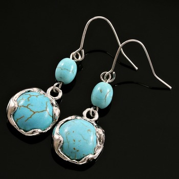 Designer, Pressed Turquoise Earrings