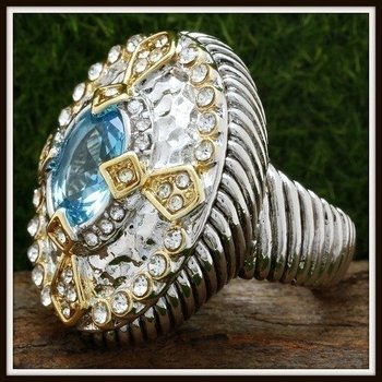 Designer Two-Tone, Blue Topaz & White Zircon Large Ring size 7
