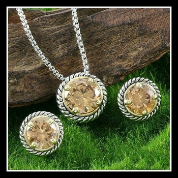 Designer Two-Tone Gold Plated, Beautifully Created Fine Golden Topaz Set of Necklace & Earrings