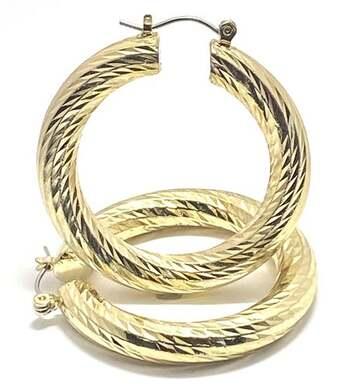 """Diamond Cut Large 1.5"""" in Diameter Hoop Earrings"""