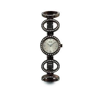 ELLE Black Color w Swarovski Crystals Roundable Watch