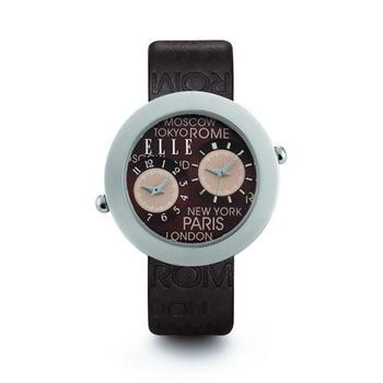 ELLE Brown Genuine Leather Strap Jetlag Watch