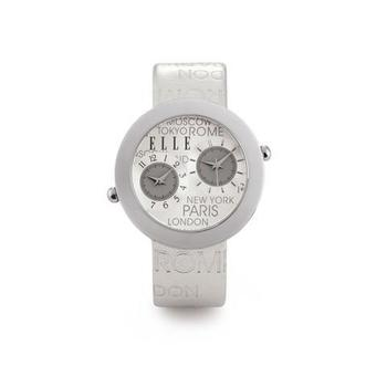ELLE TIME Women's Dual Time Silver City Genuine Leather Strap Watch