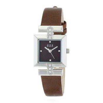 ELLETIME Women's Steel Genuine Leather Brown Strap Watch