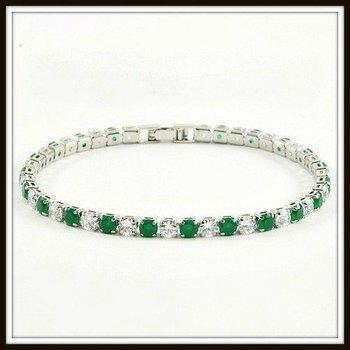 Emerald & White Sapphire Fine Jewelry Brass with 3x 14k Gold Overlay Tennis Bracelet