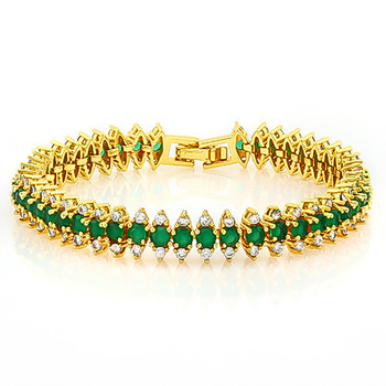 Emerald & White Sapphire Fine Jewelry Brass with 3x Yellow Gold Overlay Tennis Bracelet