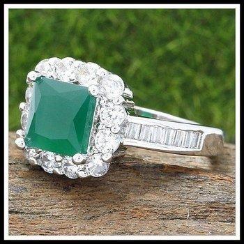 Emerald & White Sapphire Ring Size 6.5