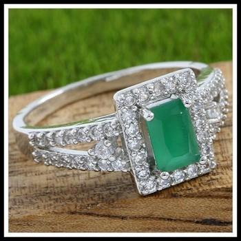 Emerald & White Sapphire Ring Size 7