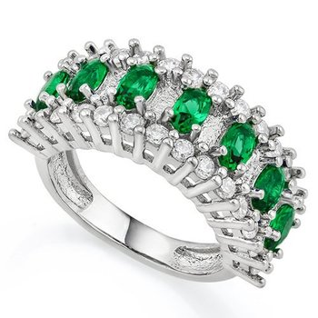 Emerald & White Sapphire Ring Size 8