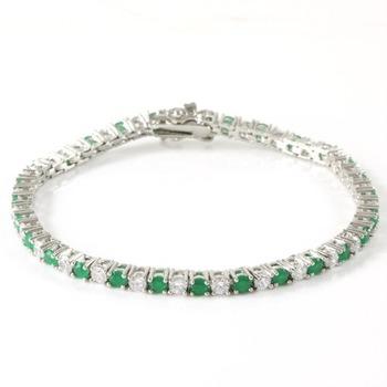 Emerald &  White Sapphire Tennis Bracelet