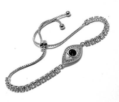 Evil Eye Protection Tennis Bracelet - Sapphire & Diamonique Diamond Adjustable 18k White Gold Over Hypoallergenic