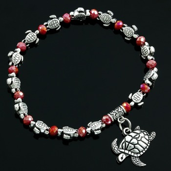 Faceted Ruby Turtle Bracelet