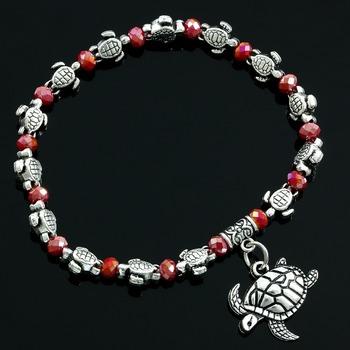 Faceted Ruby Turtle Bracelet