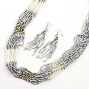 Fashion Grey Seed Bead Set of Necklace & Earrings