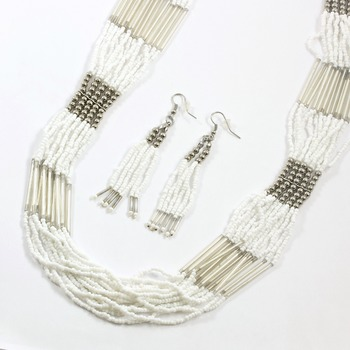 Fashion White Seed Bead Set of Necklace & Earrings