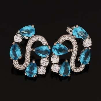 Fine Jewelry Brass & White Gold Overlay Blue Topaz Earrings