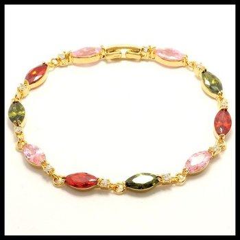 Fine Jewelry Brass with 3x 14k Gold Overlay, 10.20ctw Ruby, Peridot, White & Pink Topaz Bracelets