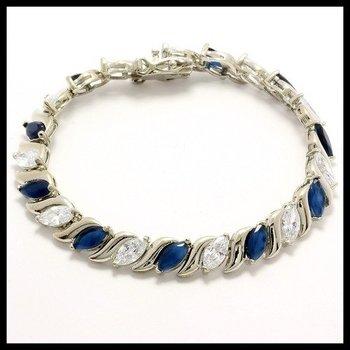 Fine Jewelry Brass with 3x 14k Gold Overlay, 10.60ctw Sapphire & White Topaz Bracelets
