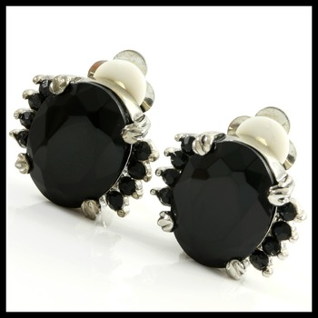 Fine Jewelry Brass with 3x 14k Gold Overlay, 12.10ctw Created Black Onyx Earrings