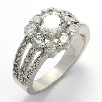 Fine Jewelry Brass with 3x 14k Gold Overlay, 1.56ctw White Sapphire Ring Size 7