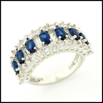 Fine Jewelry Brass with 3x 14k Gold Overlay, 2.40ctw Blue & White Sapphire Ring Size 7