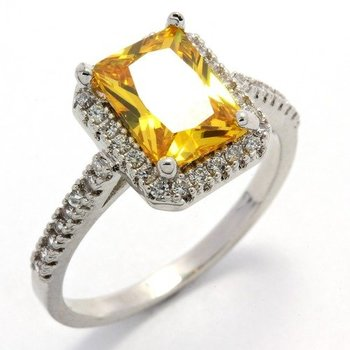 Fine Jewelry Brass with 3x 14k Gold Overlay, 3.20ctw  Citrine & AAA Grade CZ's Ring Size 7