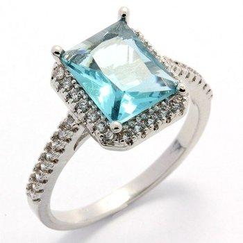 Fine Jewelry Brass with 3x 14k Gold Overlay, 3.20ctw  Sky Blue Topaz & AAA Grade CZ's Ring Size 7