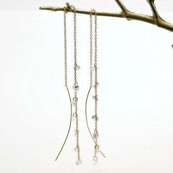 Fine Jewelry Brass with 3x 14k Gold Overlay, 3.22ctw AAA Grade CZ's Long Earrings
