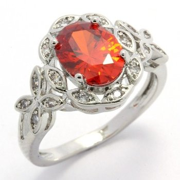 Fine Jewelry Brass with 3x 14k Gold Overlay, 3.25ctw  Orange & White Topaz  Ring Size 7