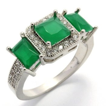 Fine Jewelry Brass with 3x 14k Gold Overlay, 3.45ctw Emerald White Sapphire  Ring Size 6