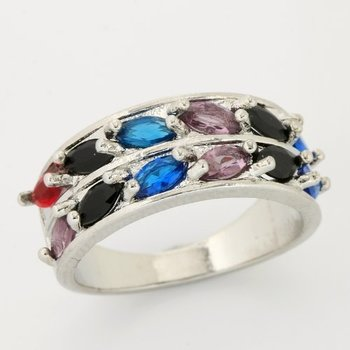 Fine Jewelry Brass with 3x 14k Gold Overlay, 3.45ctw Multi Color Gemstones  Ring Size 7