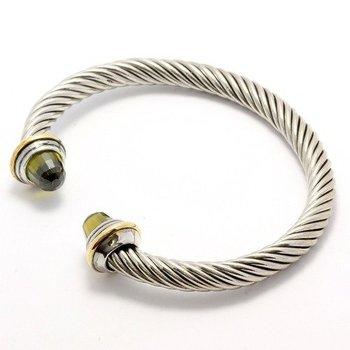 Fine Jewelry Brass with 3x 14k Gold Overlay, 3.50ctw Peridot Bracelet