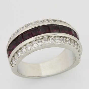 Fine Jewelry Brass with 3x 14k Gold Overlay, 3.55ctw  Amethyst & White Topaz Ring Size 7