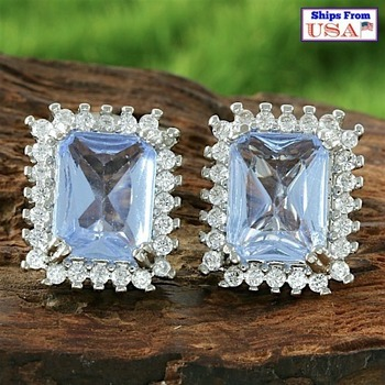 Fine Jewelry Brass with 3x 14k Gold Overlay 3.75ctw  Tanzanite & White Sapphire Earrings