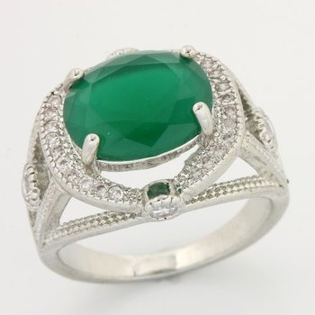 Fine Jewelry Brass with 3x 14k Gold Overlay, 4.50ctw Emerald & White Topaz Ring Size 7 3/4